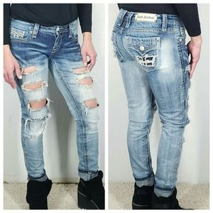Rock Revival Arda Distressed Skinny Jeans Size 28